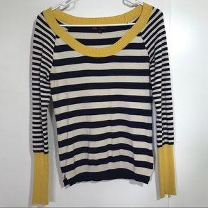 t/o Scoop Neckline Striped Sweater
